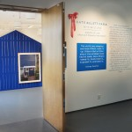 "Entrance to second room, view over installation ""Blue Barn"""