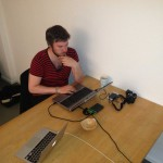Andreas working on the website