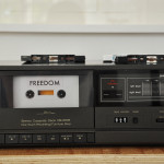 The visitors could themselfes put on a cassette and listen to as an open sound in the exhibition.